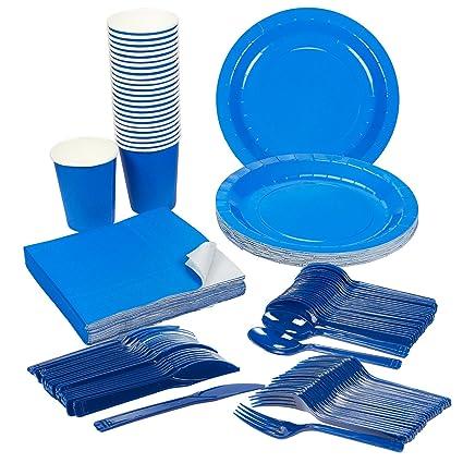 Disposable Dinnerware Set - Serves 24 - Blue Party Supplies - Includes Plastic Knives Spoons  sc 1 st  Amazon.com & Amazon.com: Disposable Dinnerware Set - Serves 24 - Blue Party ...