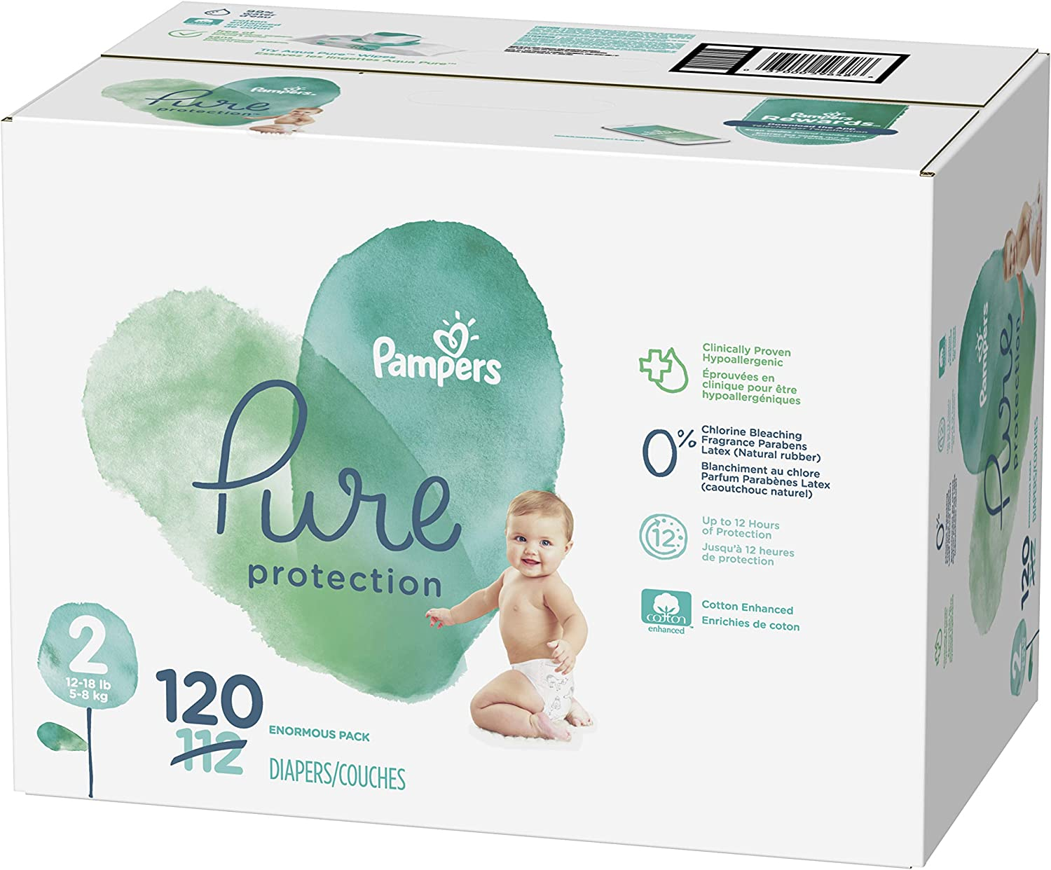 Diapers Size 2, 120 Count - Pampers Pure Protection Disposable Baby Diapers, Enormous Pack