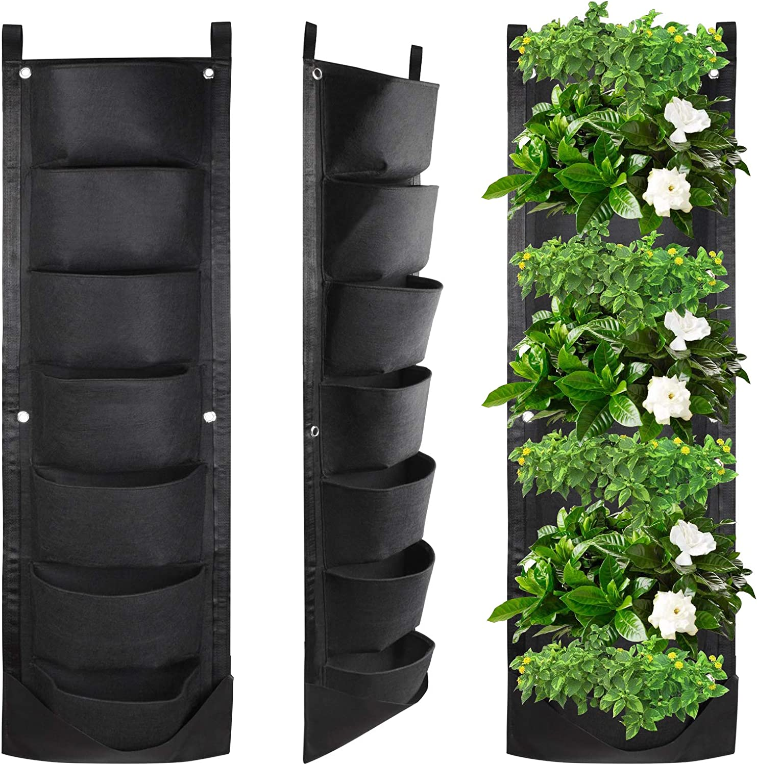KORAM 7 Pockets Wall Hanging Planter, Upgraded Vertical Garden Planter Deeper and Bigger for Indoor & Outdoor Planting Home Balcony Yard Decoration Better Waterproof