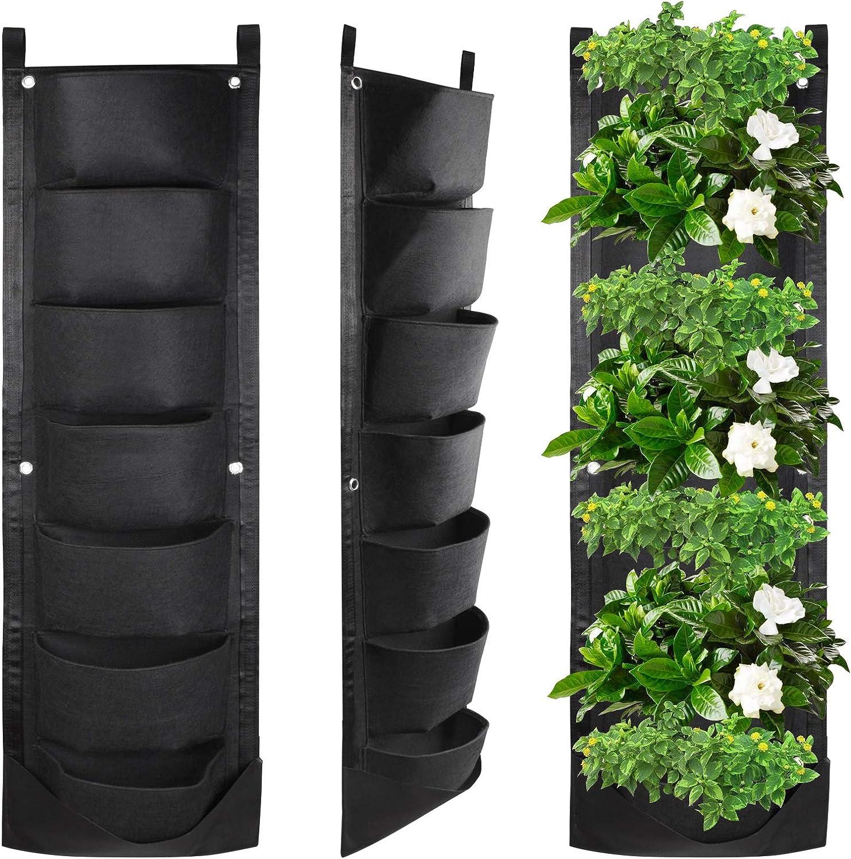 KORAM 7 Pockets Wall Hanging Planter, Upgraded Vertical Garden Planter Deeper and Bigger for Indoor & Outdoor Planting Home Balcony Yard Decoration Better Waterproof
