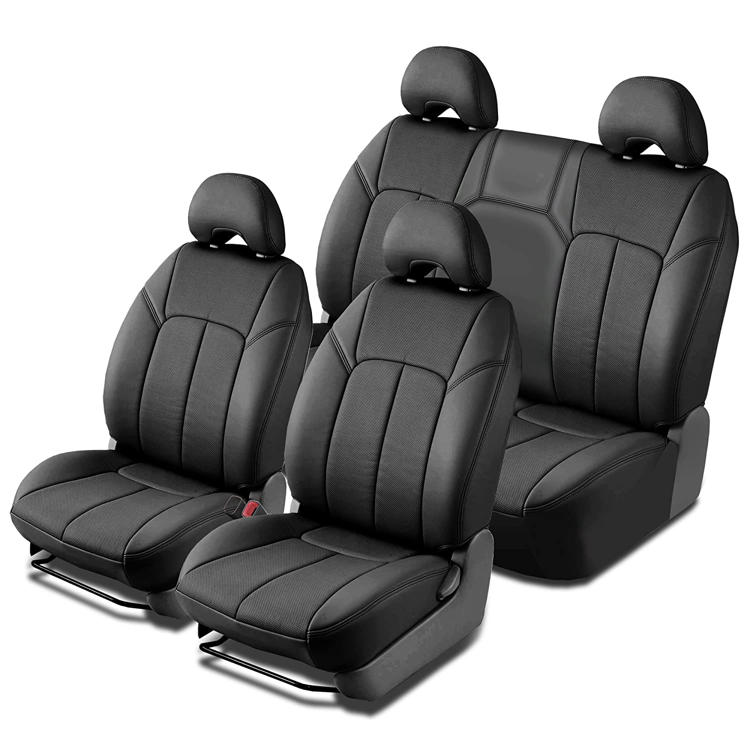 Clazzio 100612blk Black Leather Front and Rear Row Seat Cover for Scion xD