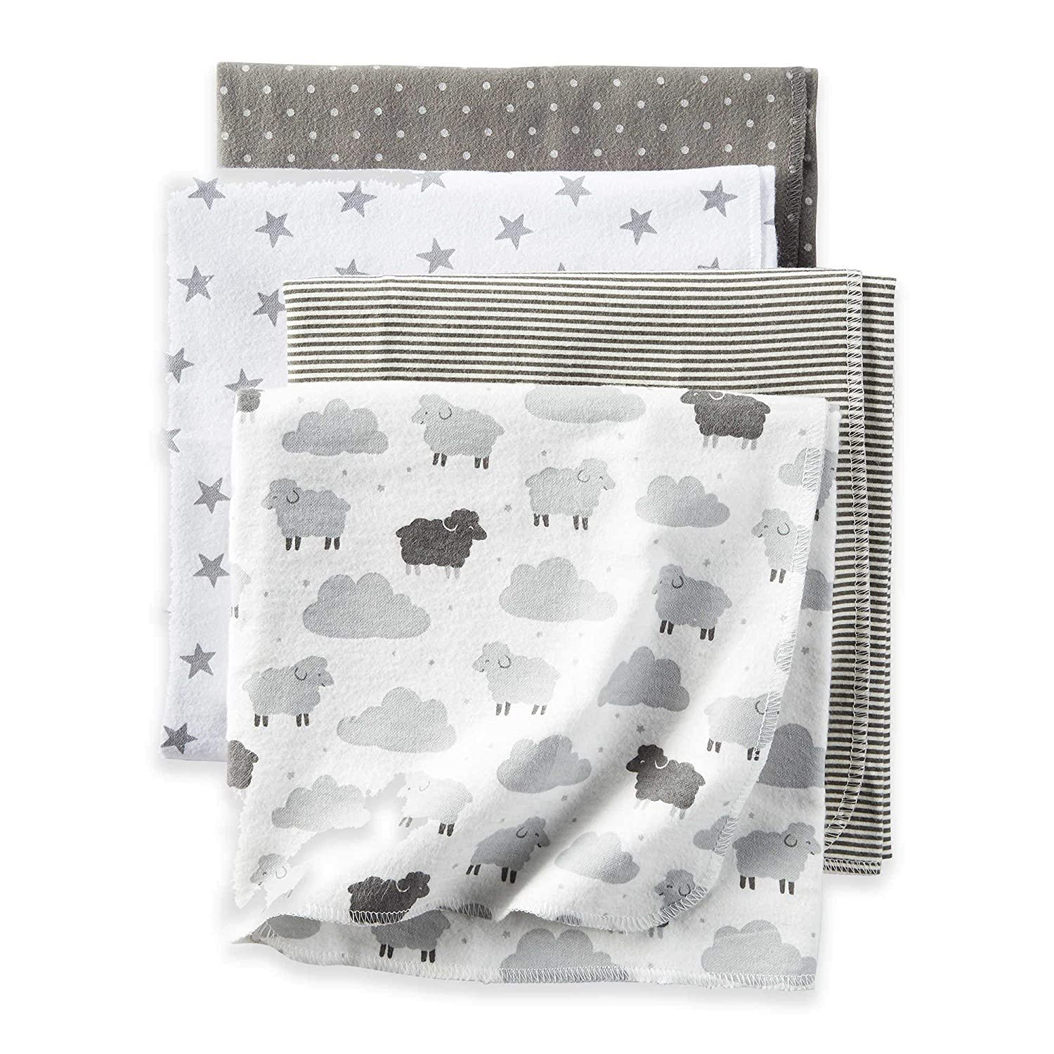 Baby Blankets 4-Pack Soft and Breathable Fabric in Grey