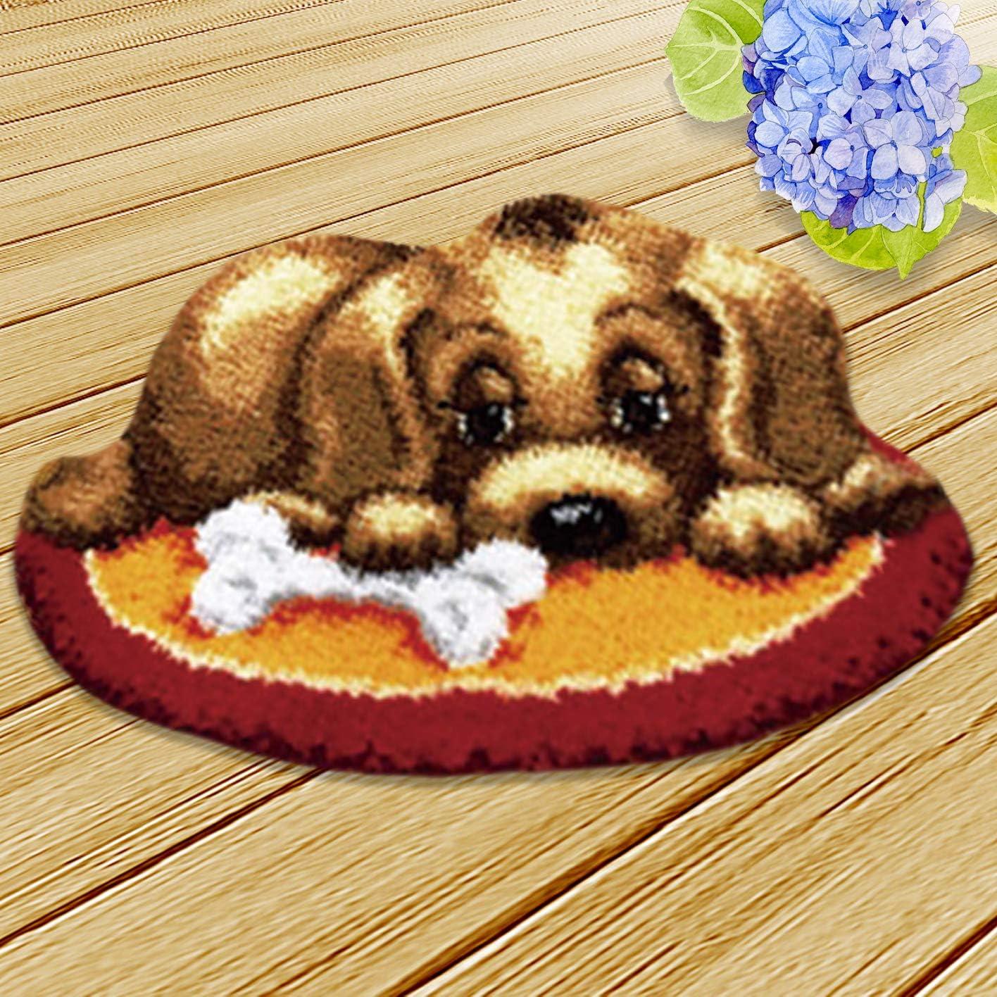 Needlework Unfinished Rug,1 Set Onebook Animal Pattern Carpet Cushion Latch Hook Kits with Basic Tools DIY Home Ornaments,Making Latch Hooking Kit,Dog Latch Hook Kits