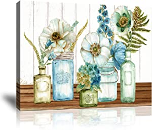 Canvas Wall Art for Kitchen Rustic Flower Wall Decor Painting Wood Texture Plants Print Pictures Artwork for Home Kitchen Mason Jar Floral bar Decoration, Framed 16x20 Inches