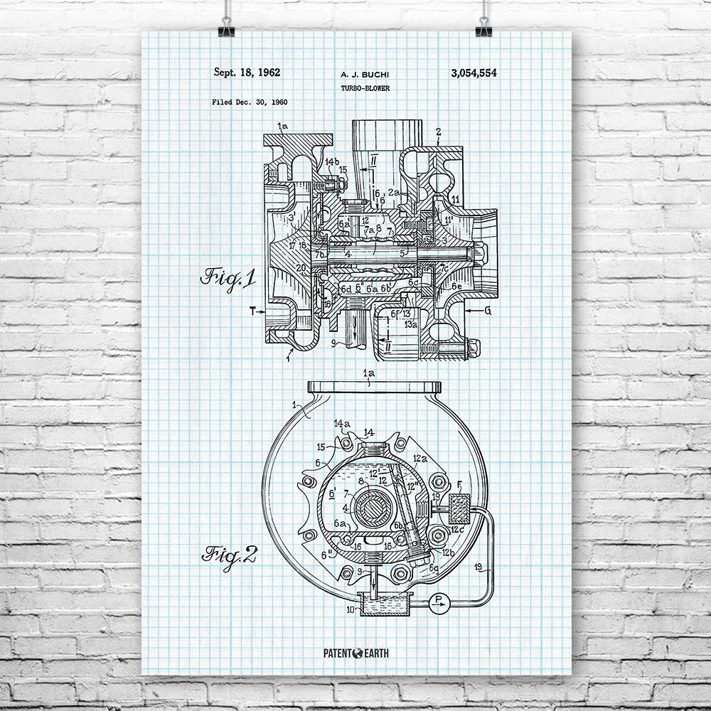 Amazon buchi turbocharger poster patent art print blueprint 18 amazon buchi turbocharger poster patent art print blueprint 18 x 24 posters prints malvernweather Image collections