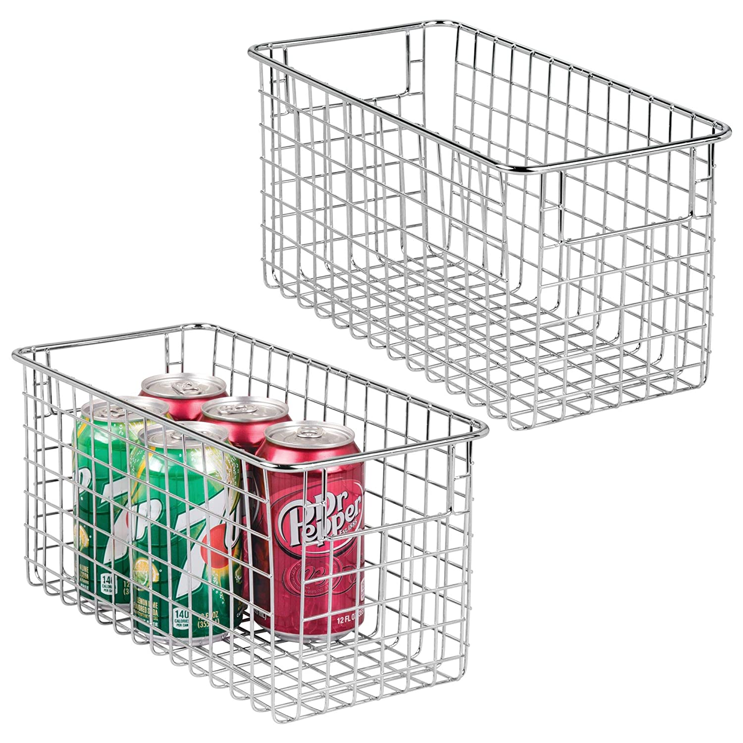 "mDesign Farmhouse Decor Metal Wire Food Storage Organizer, Bin Basket with Handles for Kitchen Cabinets, Pantry, Bathroom, Laundry Room, Closets, Garage - 12"" x 6"" x 6"" - 2 Pack - Chrome"