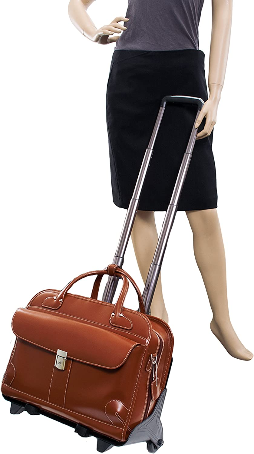 McKlein USA Lakewood Ladies Leather Fly-Through Checkpoint-Friendly Detachable Wheeled Briefcase
