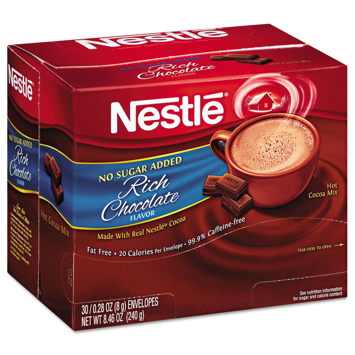 Nestle 61411 No-Sugar-Added Hot Cocoa Mix Envelopes Rich Chocolate 0.28 oz Packet 30/Box