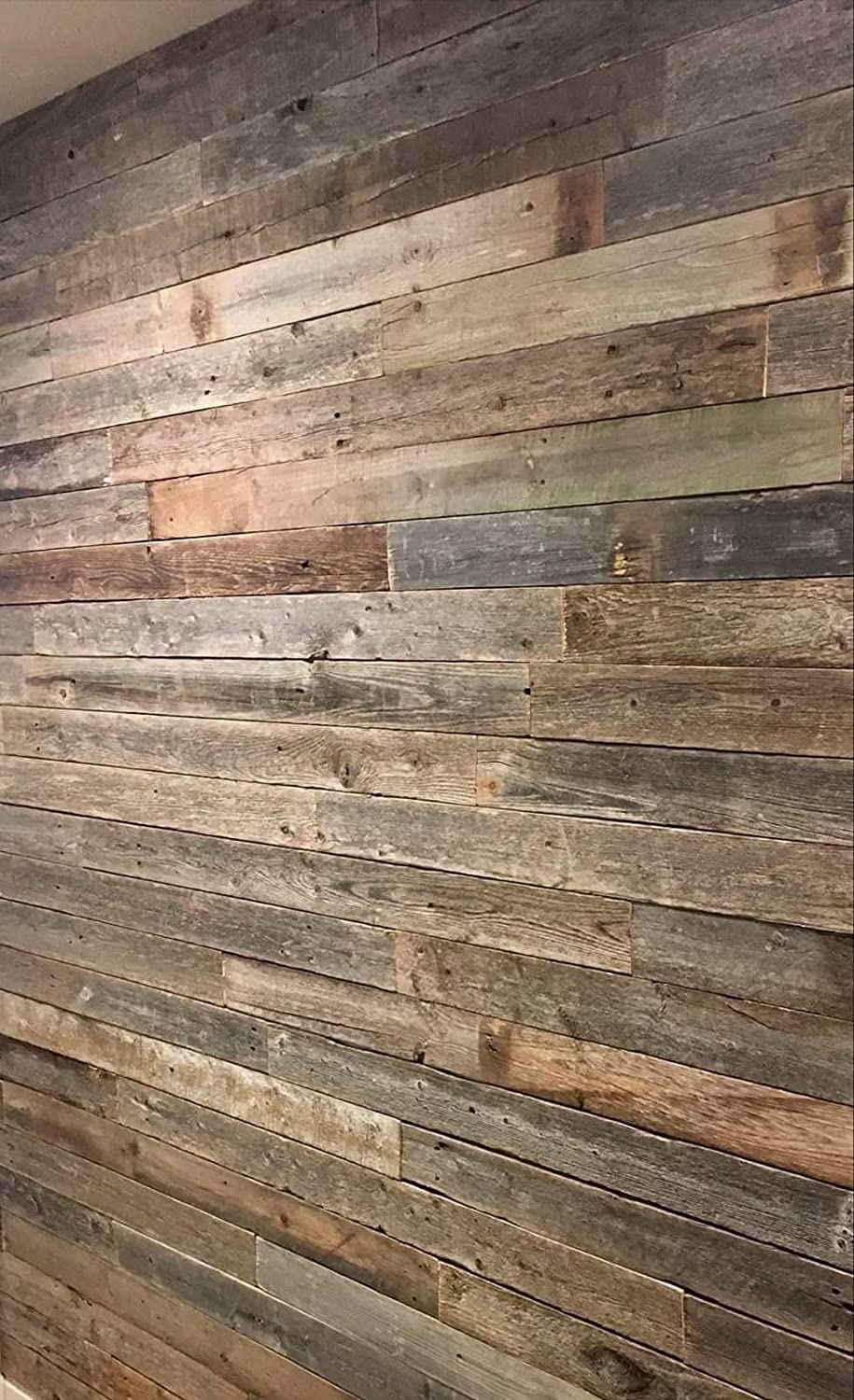 Real Weathered Wood Planks for Walls! Rustic Reclaimed barn Wood Paneling for Accent Walls, Easy Application (23 Square FEET) Rockin' Wood