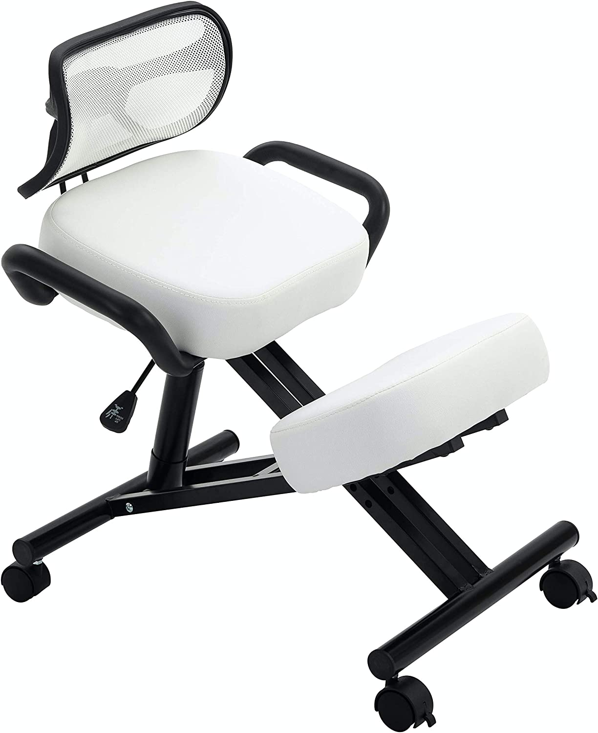 New! Stork (by Perfect Perch) - Beautiful Ergonomic Kneeling Chair with Leather Cushions, Back Support, Pneumatic Height Adjustment, Side Handles, Maximum Back Pain Relief, Home & Office