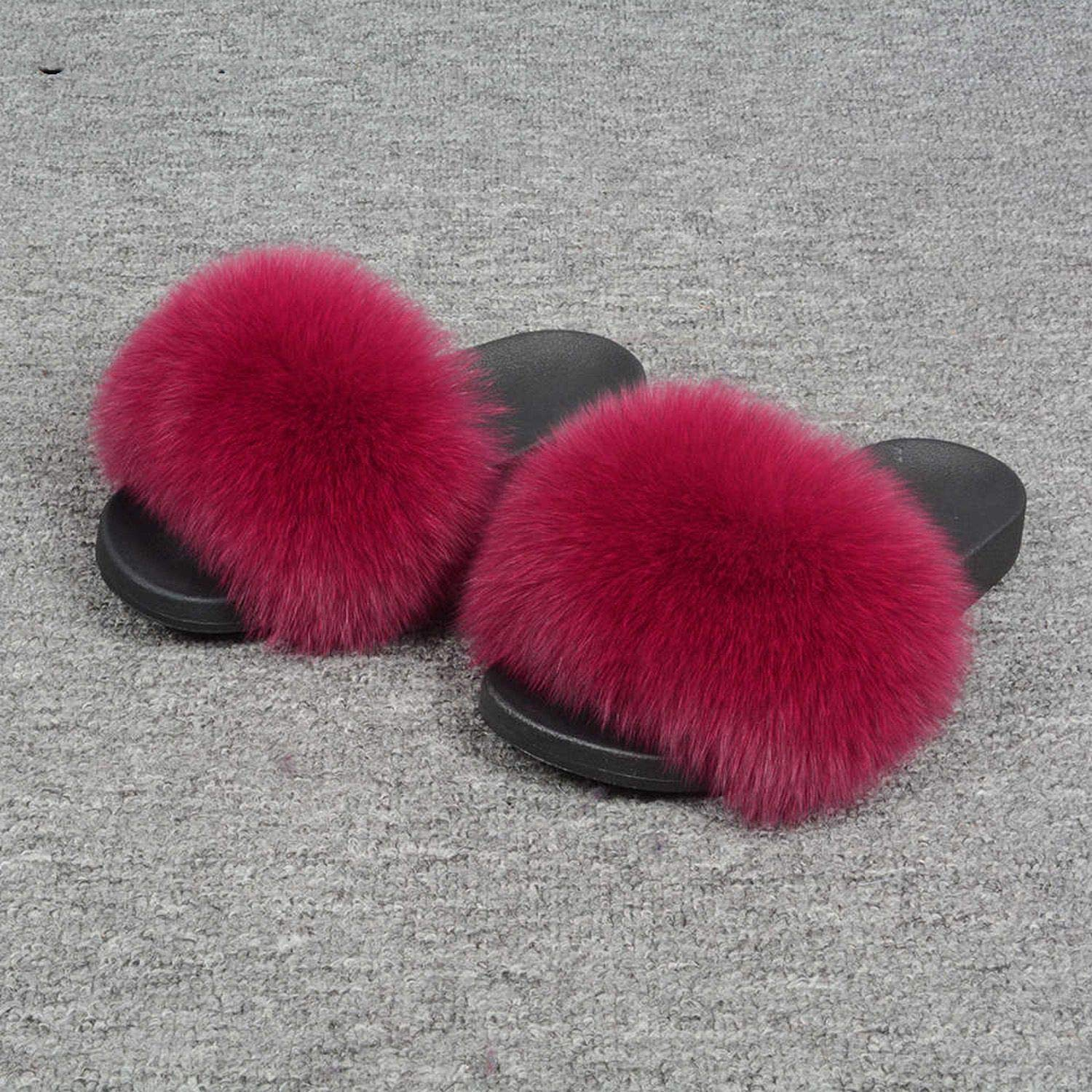 pink Blingbling-honored High end Real Fox Fur Slipper Women Slides Sliders Fashion Spring Summer Autumn Fluffy Fur Lady S6018