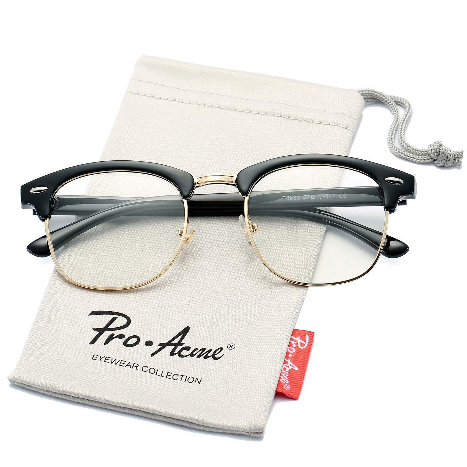 1a2bb56c3 Amazon.com: Pro Acme Retro Semi Rimless Clear Lens Glasses Classic Vintage  Unisex Eyeglasses (Black/Gold Rimmed): Clothing