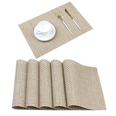 Gray ManMengJi Washable PVC Placemats,Heat Resistant Table Mats Set of 2,Non-Slip Woven Vinyl Table Placemats