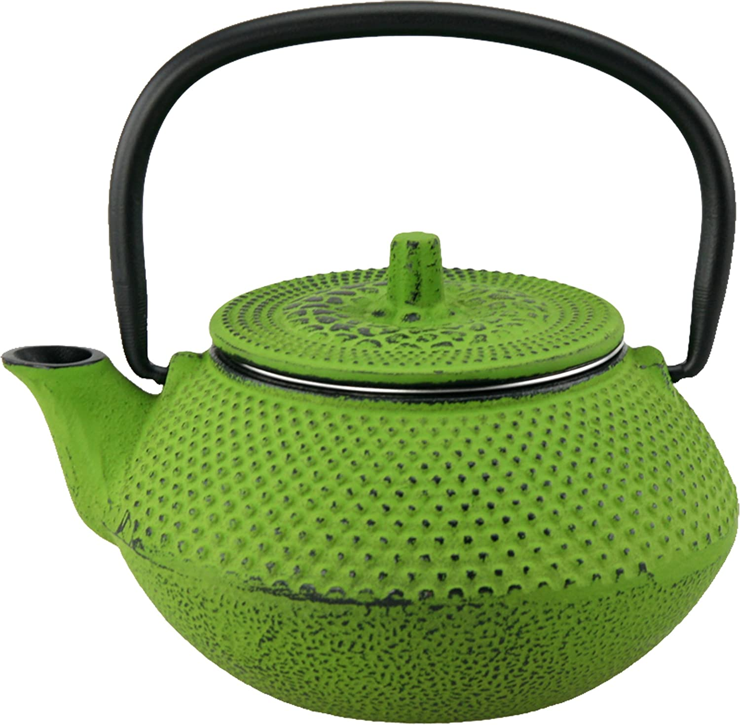 Creative Home Kyusu 10 oz. Cast Iron Tea Pot with Removable Stainless Steel Infuser Basket, Green