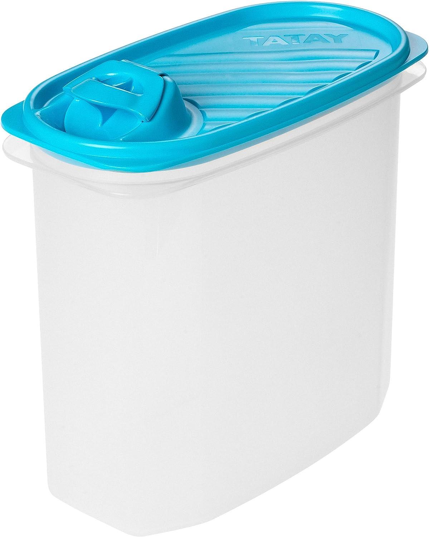 Tatay - Envase de alimento con un Pico para Verter, de Forma Ovalada, 2L, plástico, 18.5 x 10 x 19.5 cm, Azul