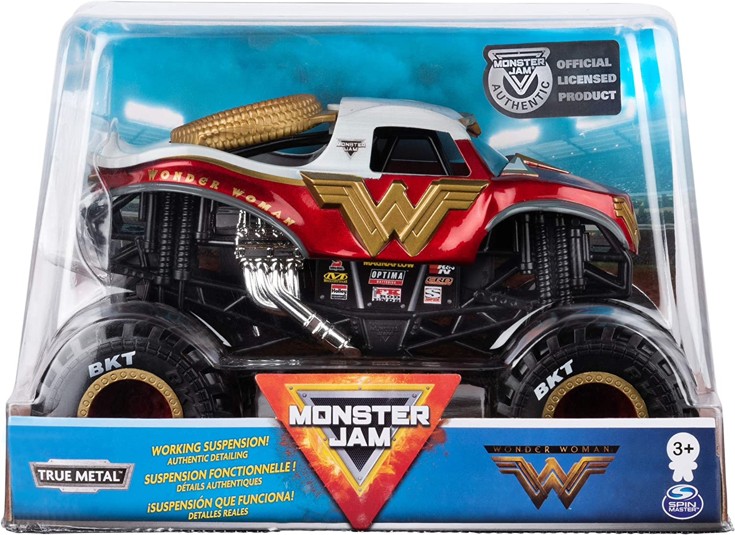 Amazon Com Monster Jam Official Wonder Woman Monster Truck Die Cast Vehicle 1 24 Scale Toys Games