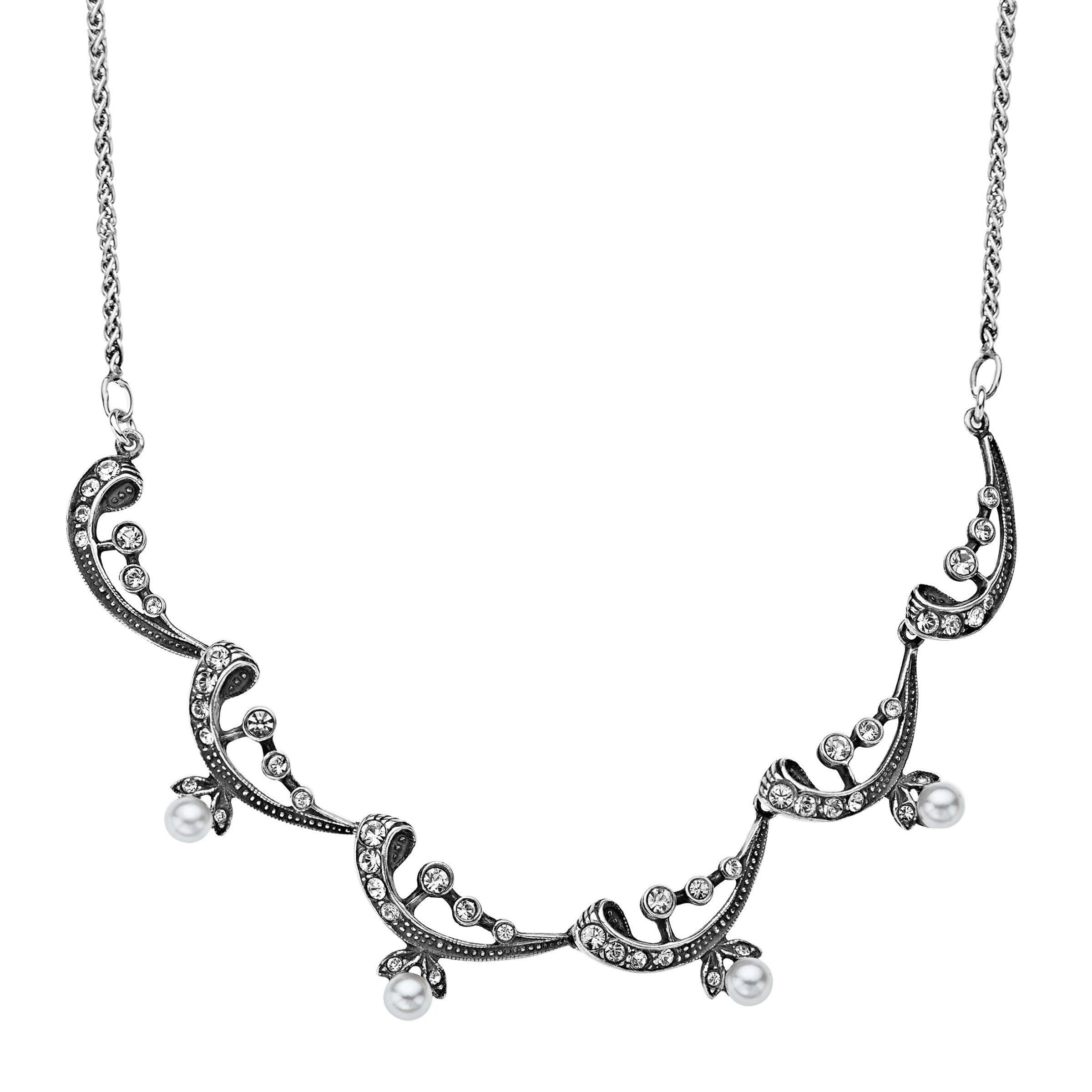 Van Kempen Victorian Simulated Pearl Necklace with Swarovski Crystals in Sterling Silver