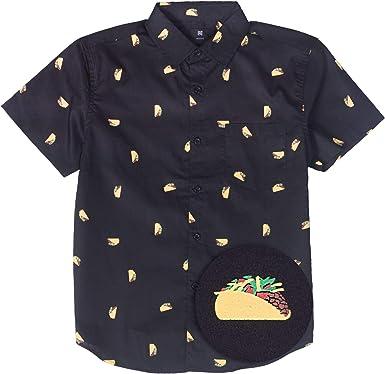 Visive Hawaiian Shirts For Boys Short Sleeve Printed Button Up Shirt