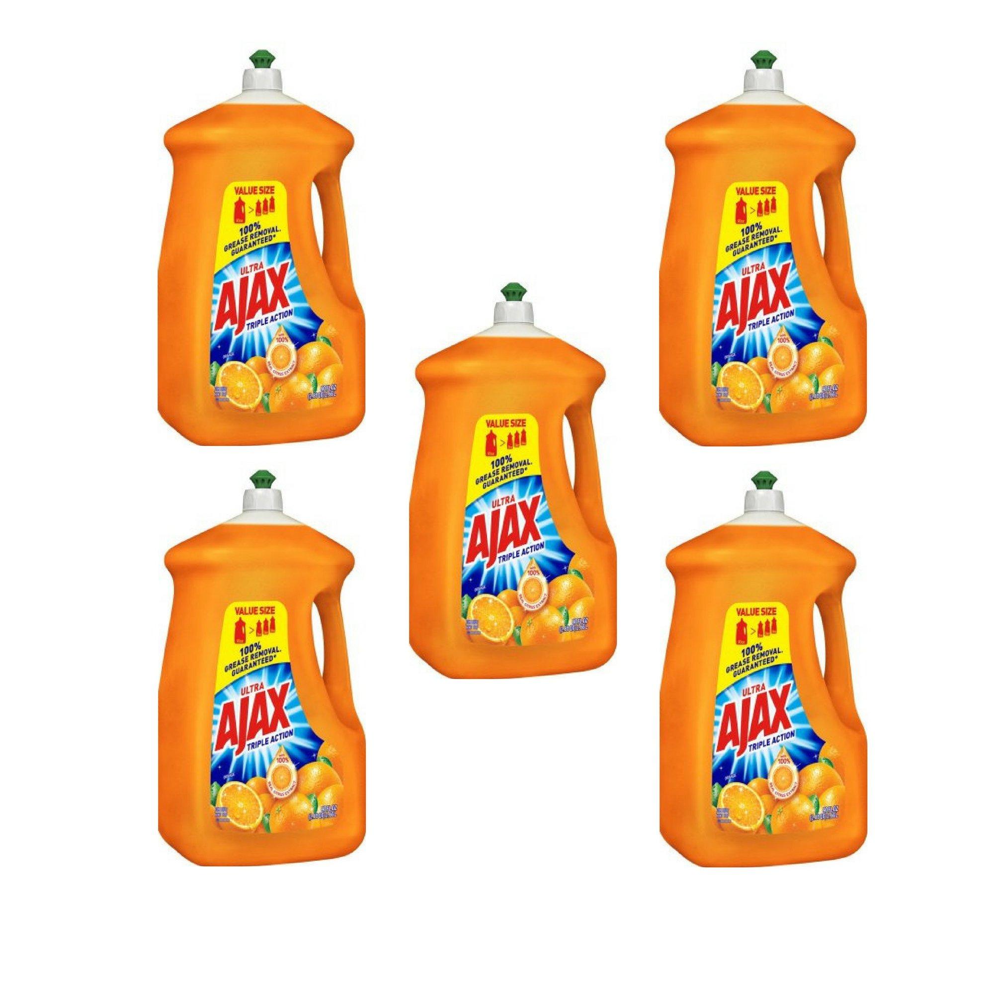 Ajax 90 fl oz Ultra Triple Action Liquid Dish Soap, Orange - 5 Pack