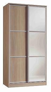 Armario ropero con Espejos Color Cambrian de 2 Puertas correderas, estantes Regulables, molduras Decorativas para Dormitorio. 200cm Alto x 100cm Ancho x 55cm Fondo