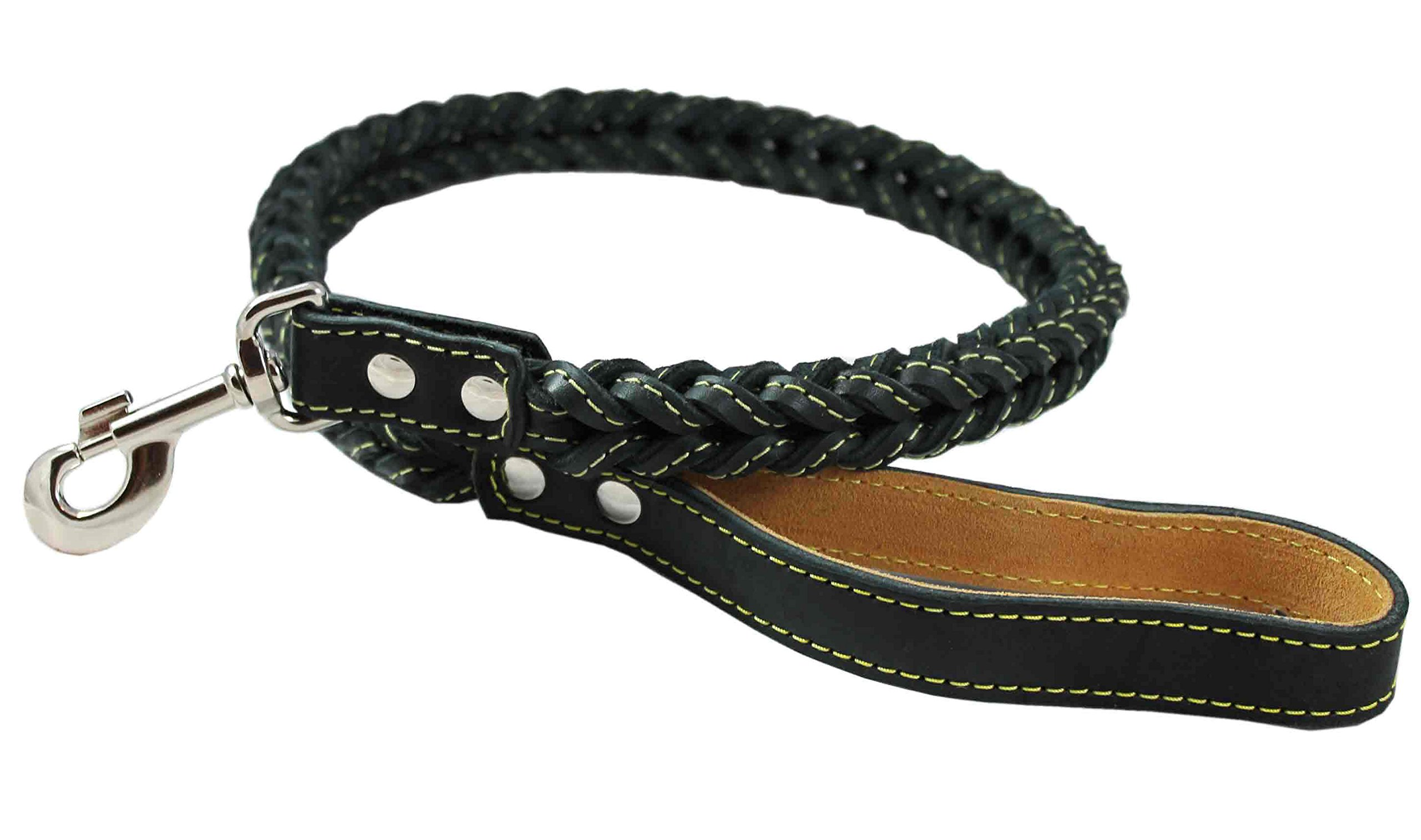 4-thong Square Fully Braided Genuine Leather Dog Leash, 3.5 ft Length 1'' Wide Black Large to X-Large by Dogs My Love (Image #1)