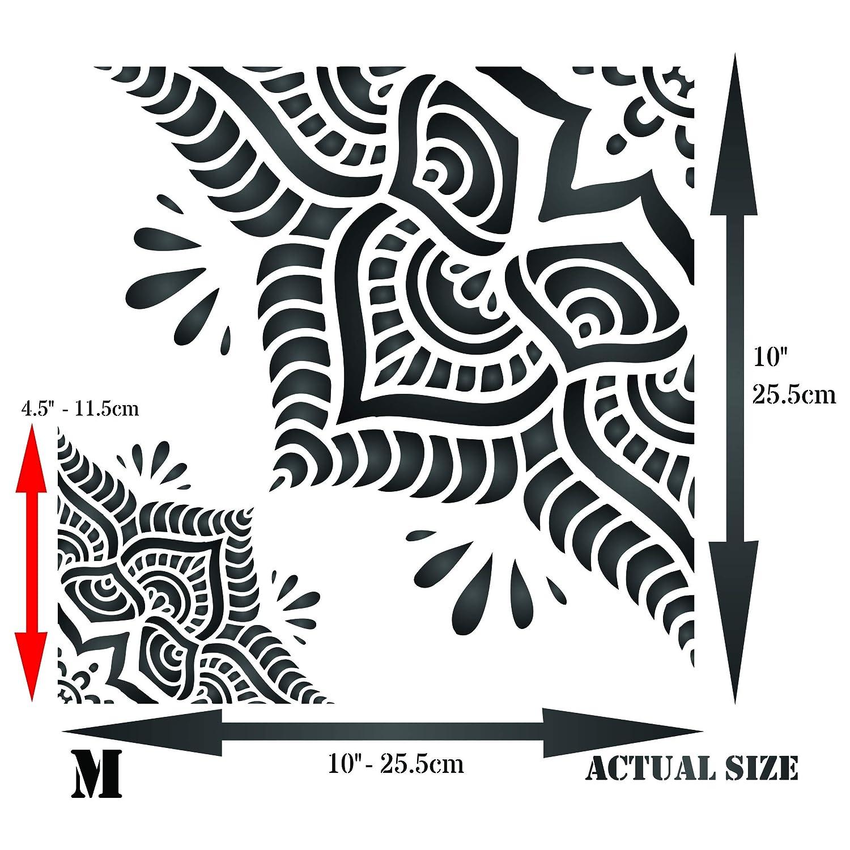Pochoir mandala damass/é 25,5 x 25,5 cm Grand pochoir mural r/éutilisable pour carrelage et mandala M