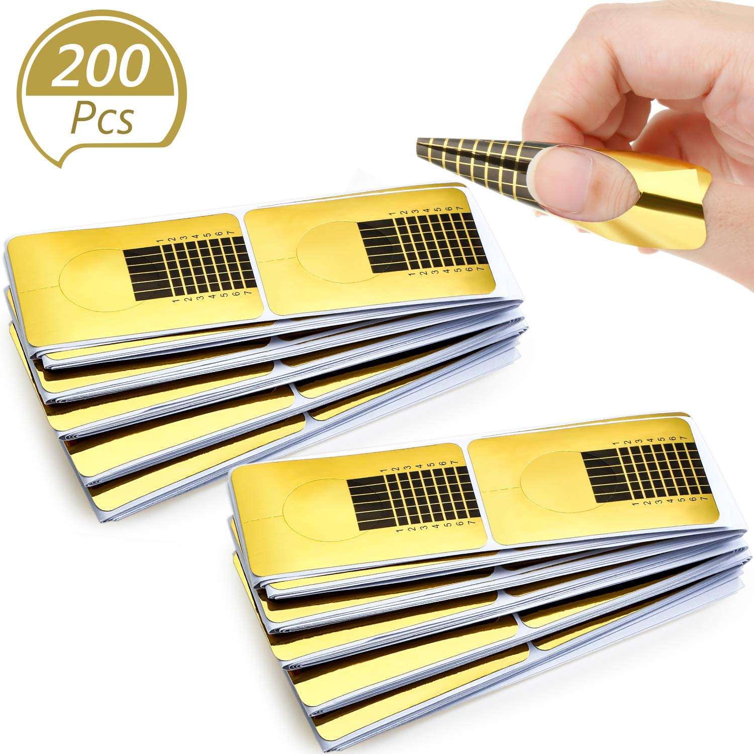 200 Pieces Form Guide Stickers Nail Extension Tips Self-Adhesive Art Nail Tips French DIY Tool UV Gel Tools for Women Girls Nail DIY Supplies Nail Salon at Home (Square-Shaped)