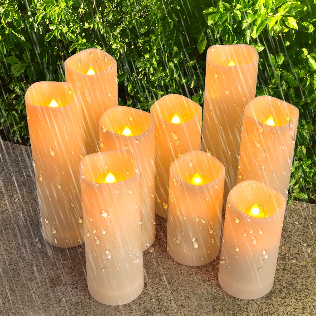 Comenzar Flameless Candles, Led Candles Set of 12(H 4'' 5'' 6'' 7'' x D 2.1'') Outdoor Indoor Candles with Remote Timer (Made of Plastic) by Comenzar