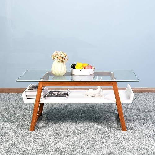 MIYACA Modern Living Room Coffee Table and Side Table