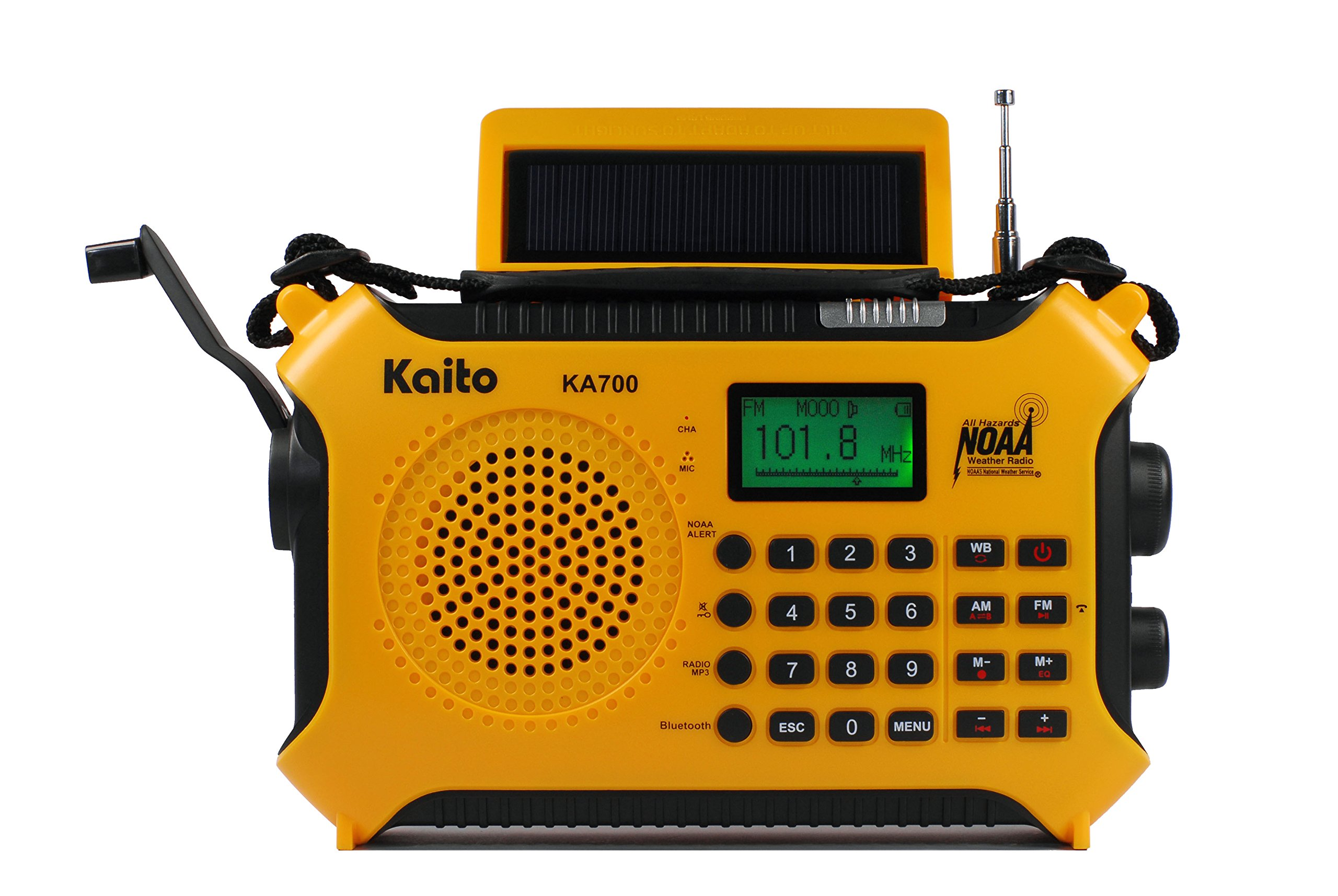Kaito KA700 Bluetooth Emergency Hand Crank Dynamo & Solar Powered AM FM Weather Band Radio With Recorder and MP3 Player - Rugged Design for Hiking, Camping, Construction Sites, Etc.(Yellow) by Kaito