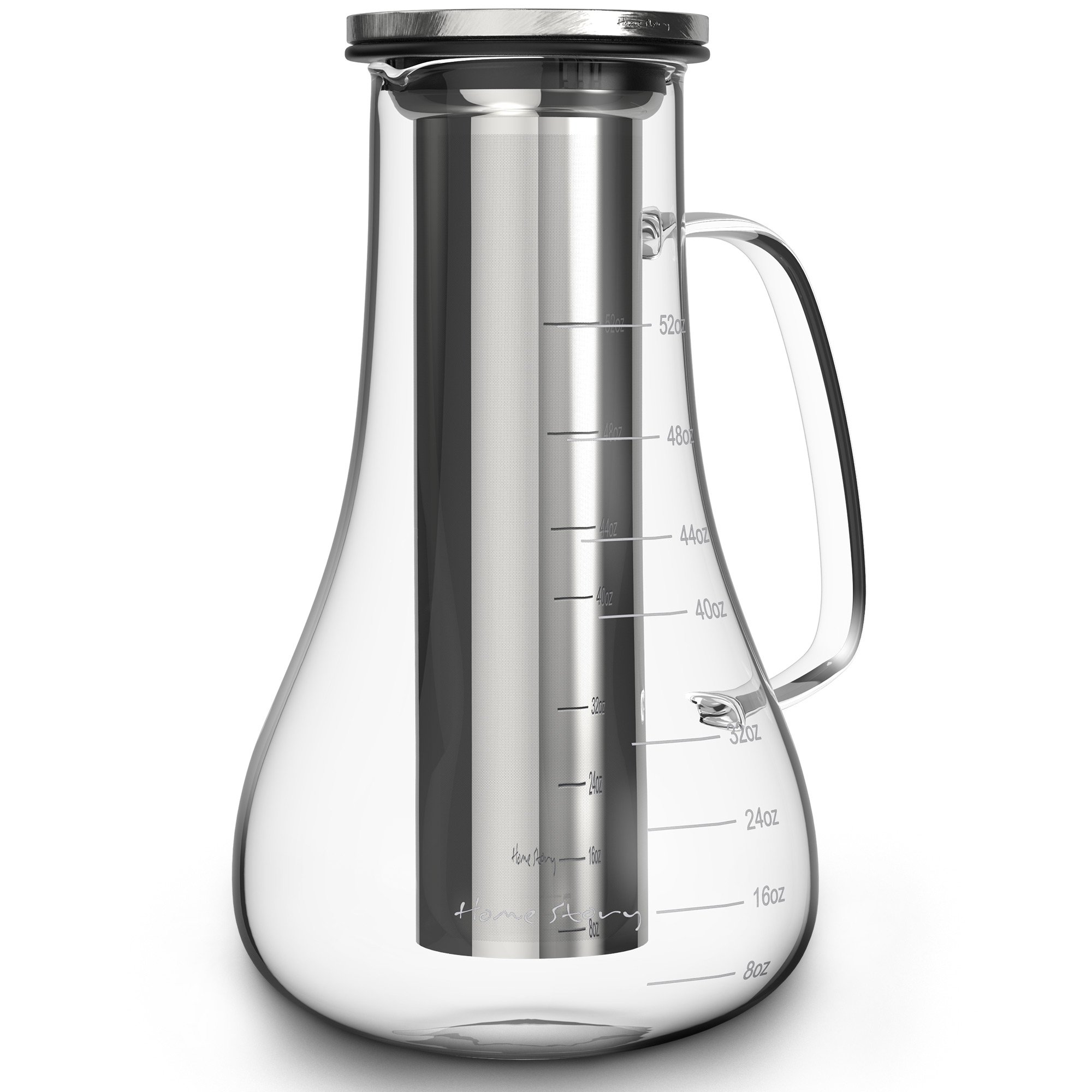 Cold Brew Coffee Maker - Glass Cold Brew Maker Pitcher Kit - 52 oz Hot Iced Tea Infuser Pot - Works even as Large Cold Press Coffee Maker Brewer or Iced Coffee Carafe - Stainless Steel Brew Filter