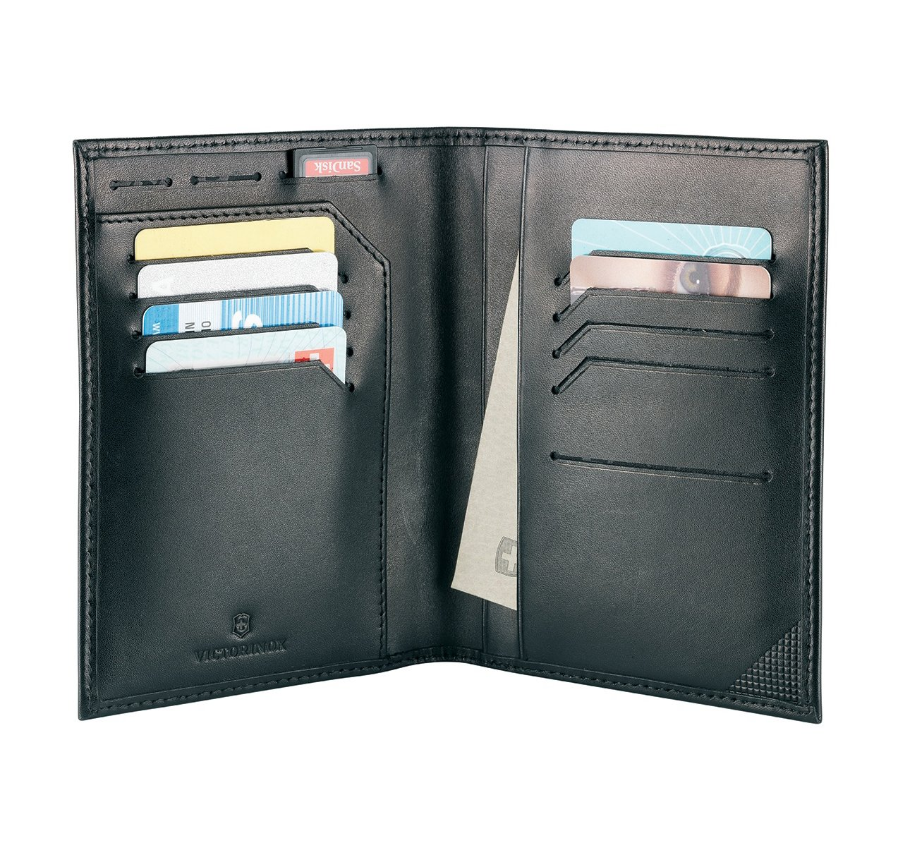 Victorinox Men's Altius Edge Leibnitz Passport Cover with RFID, black leather, L by Victorinox