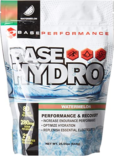 BASE Performance Hydro – Watermelon 28 Servings Within Each eco-Friendly Mylar Bag Blend of Dextrose, Fructose, maltodextrin and Essential Electrolytes. Watermelon