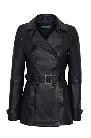 b3ea97732 Smart Range Trench Ladies Black Classic Mid-Length Designer Real Leather  Jacket Coat 1123