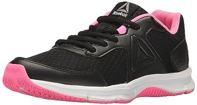 73cf5592c63a8f Reebok Women s Express Runner Running Shoe Black Poison Pink Pewter White  5.5 M