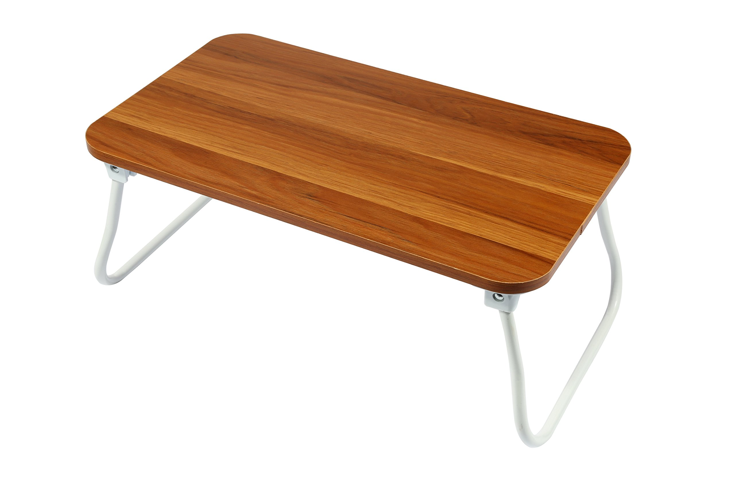 Homebi Lap Desk Tray Table Laptop Stand Portable Bed Desk Breakfast Tray for Bed Couch and Sofa with MDF Top Board and Foldable Metal Legs (9.06''H, Walnut)