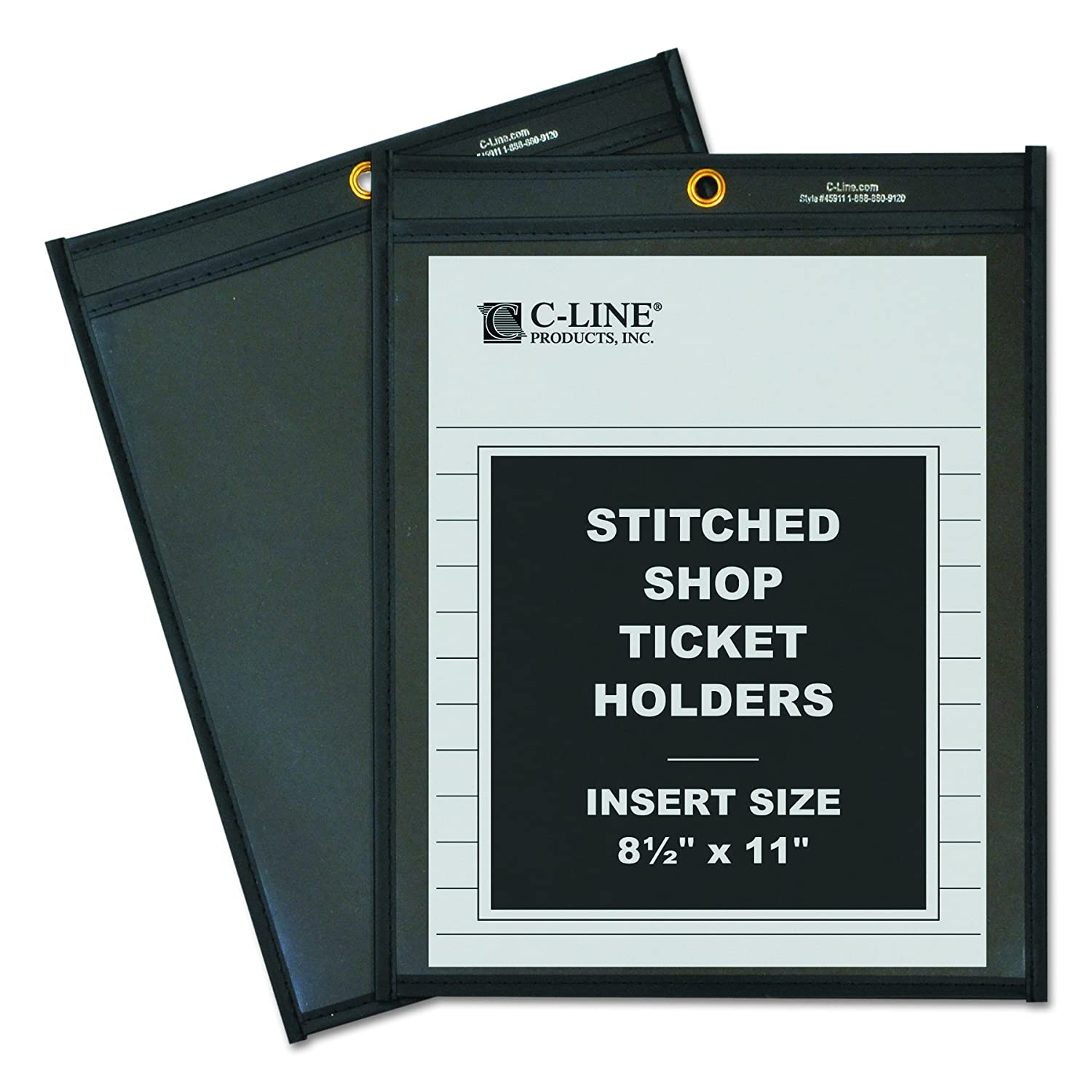 C-line Stitched Shop Ticket Holders with Black Backing 9-Inch x12-Inch 25//Box Clear Pressboard Black 45912