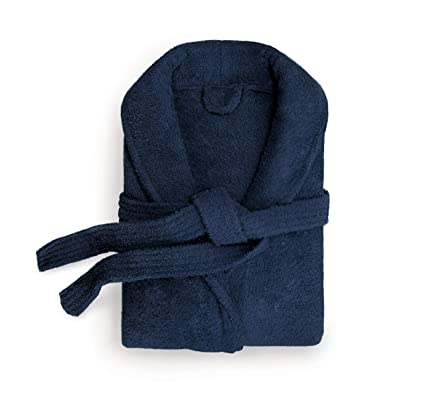 Ashley Mills 100% Egyptian Cotton Towelling Robe Mens and Ladies Cotton  Terry Towelling Shawl Collar Dressing Gown (Navy 678fc80a5