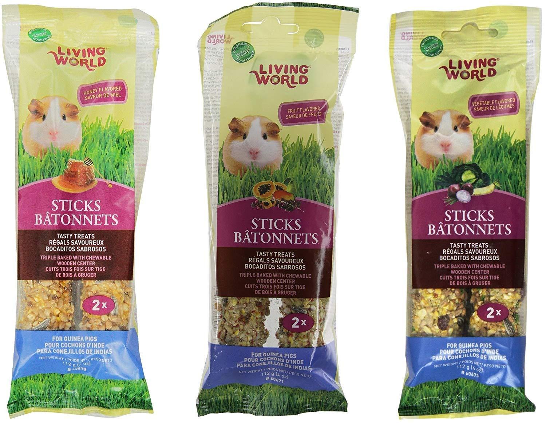 Living World Guinea Pig Treat SticksVariety Pack of 6 (2-Honey Sticks, 2-Fruit Sticks, and 2-Vegetable Sticks)