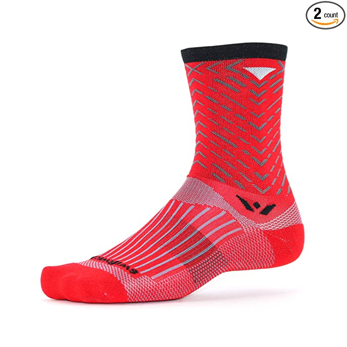 Swiftwick - Vision Seven Tread, Crew Socks for Cycling, Red/Black, Small
