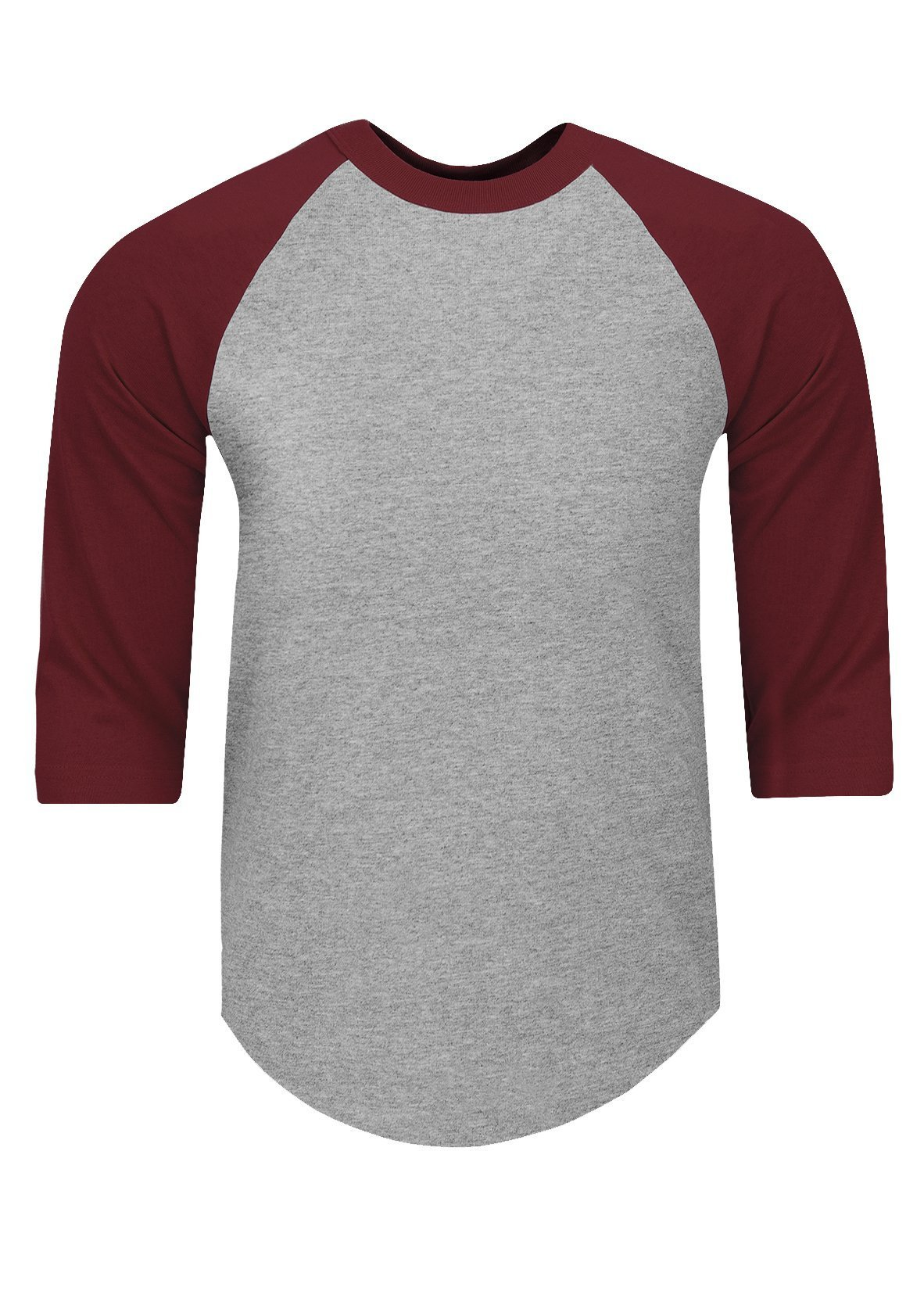 RA0525_3X Baseball T Shirts Raglan 3/4 Sleeves Tee Cotton Jersey S-5XL H.Grey/Burgundy 3X