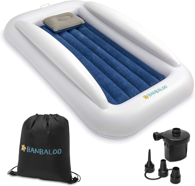 Aufblasbare Matratze mit Zwei farblich unterschiedlichen Seiten BANBALOO-Aufblasbares Kinderbett elektrische Luftpumpe und Reisetasche. Bett mit Zwei seitlichen Absturzsicherungen Kissen