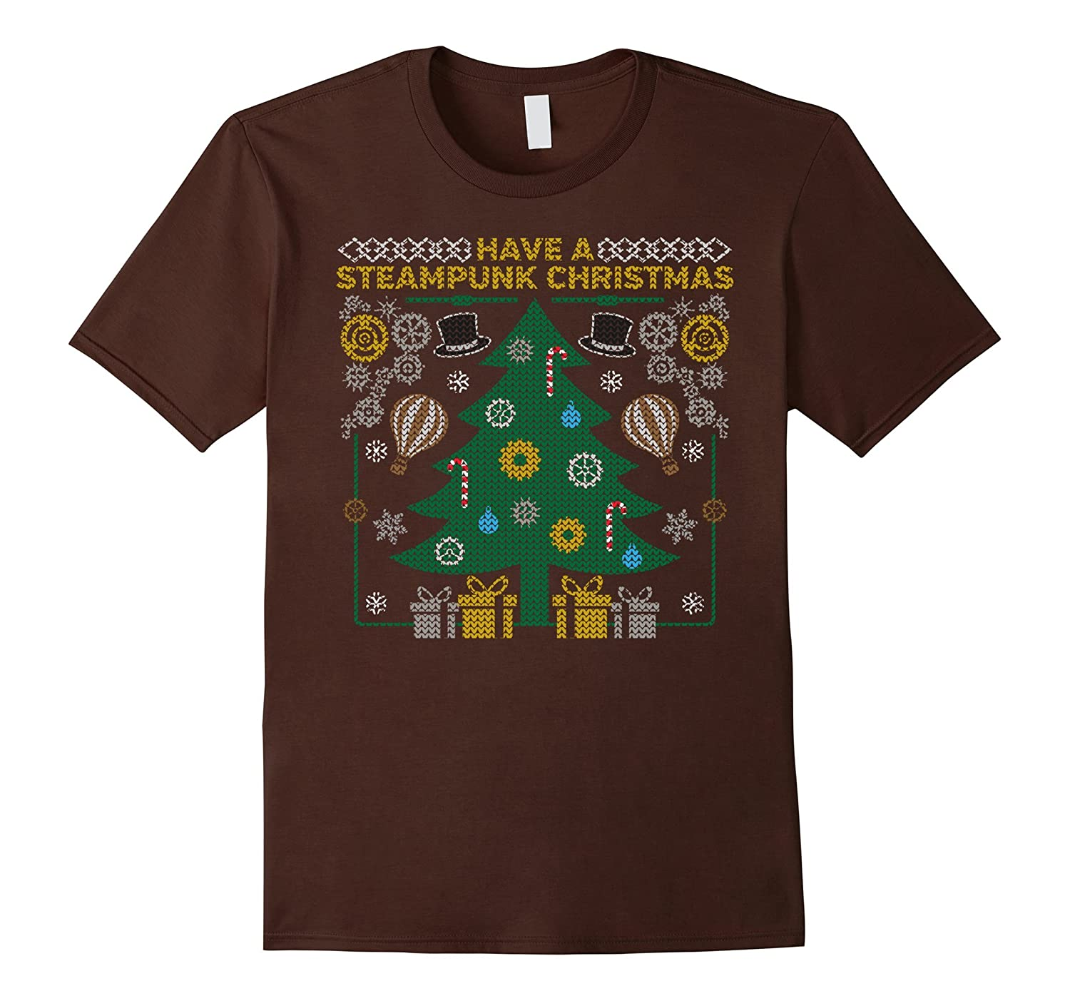 Steampunk Tree Gears Top Hat Ugly Xmas Sweater T-Shirt