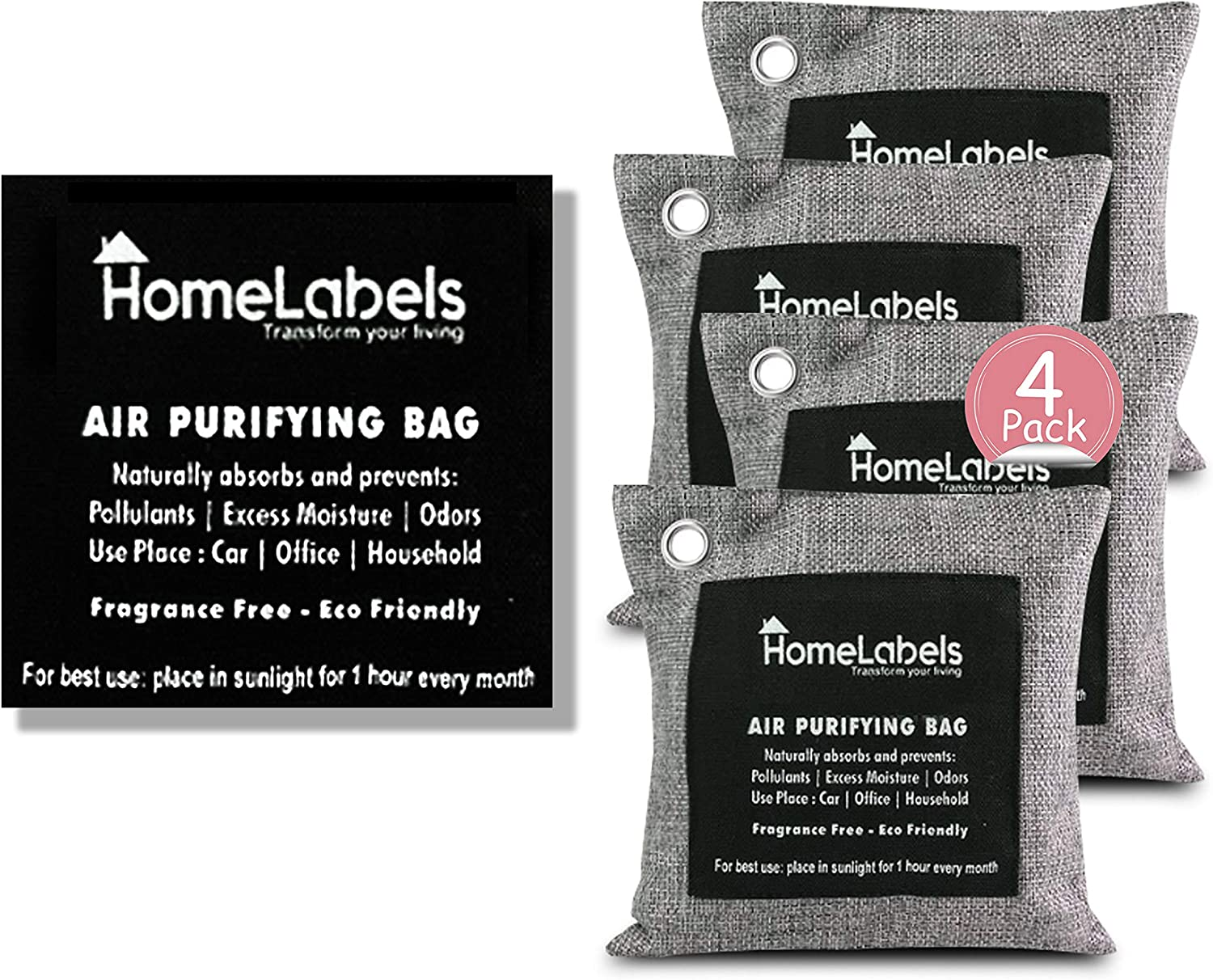 Charcoal Bags Odor Absorber- Activated Charcoal Air Purifying Bag - Charcoal Bags for Mold and Mildew -Pet odor absorber-Charcoal Bags for Home, Shoe, Car -Bamboo Charcoal Bags with Hook Rings-5x200gm