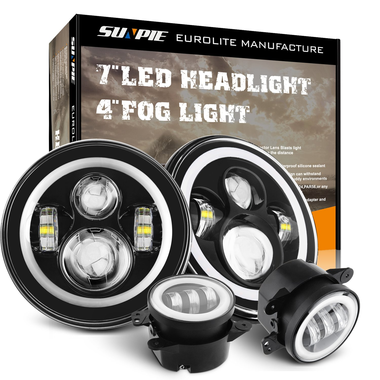 Amazon.com: 7 Inch LED Halo Headlights with Turn Signal Amber DRL White+ 4  '' Halo Fog Lights for Jeep Wrangler 1997-2017 JK JKU TJ LJ Rubicon Sahara  ...