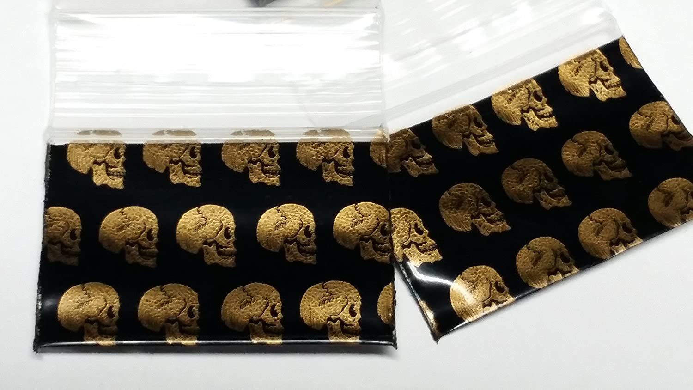 Gold Skulls 2020 Original Mini Ziplock 2.5mil Plastic Bags 2 x 2 Reclosable Baggies The Baggie Store