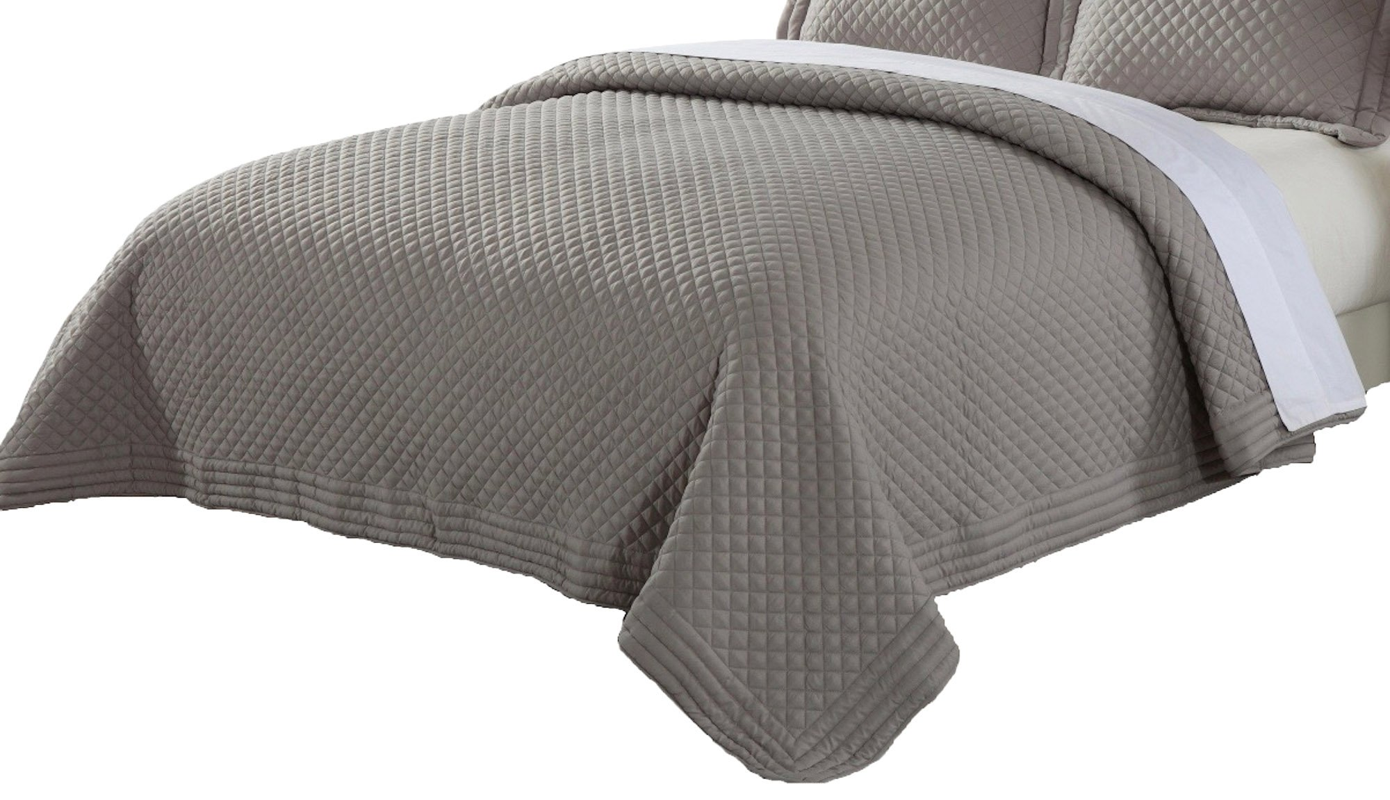 Lotus Home Microfiber Stain and Water Resistant Diamond Quilt, Full/Queen, Silver