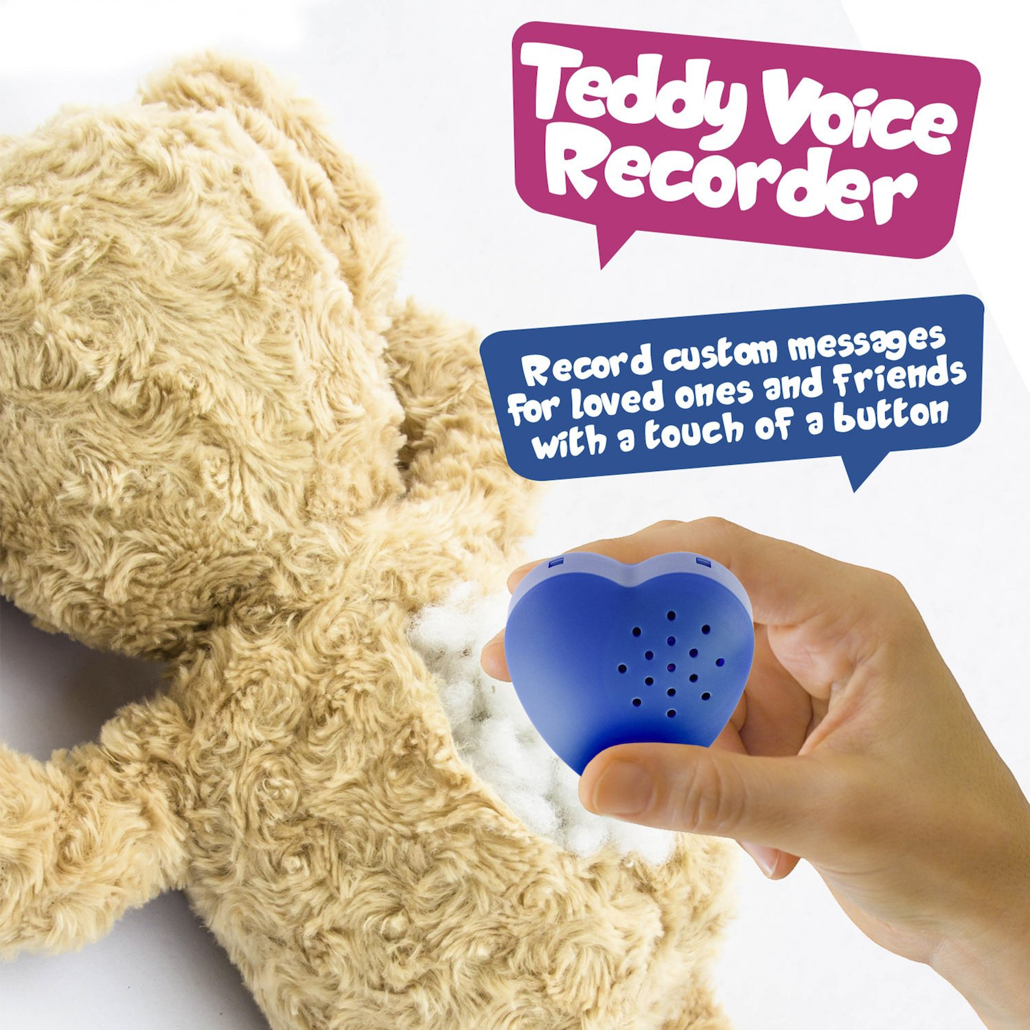 Amazon.com: 2 Pack, Inventiv 30 Second Voice Sound, Recorder Module for Plush Toy, Stuffed Teddy Bear Animal Recordable Heart, Record Custom Messages ...