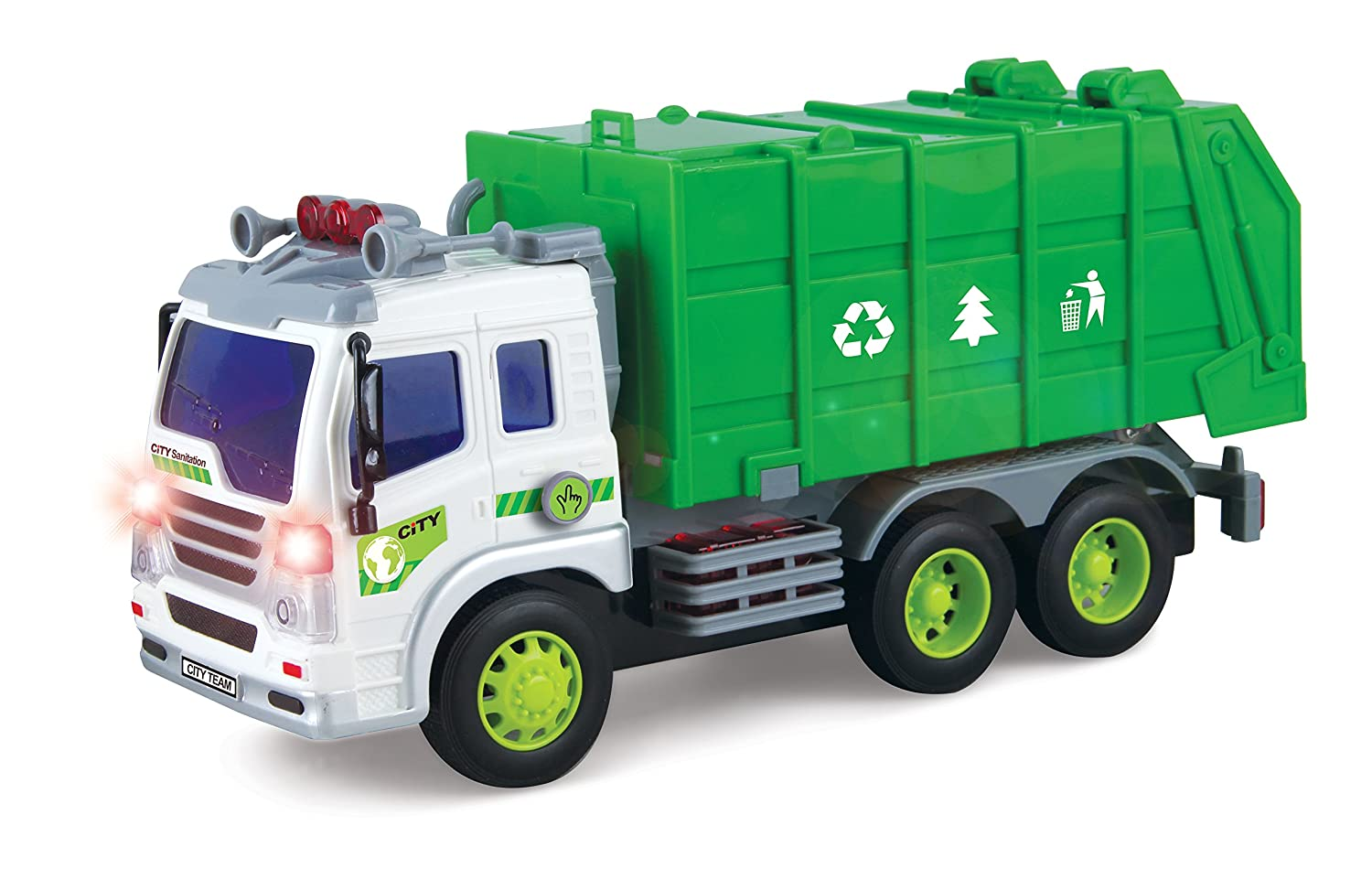 Friction Powered Sanitation Garbage Truck 1:16 Toy Vehicle with Lights and Sounds Liberty Imports