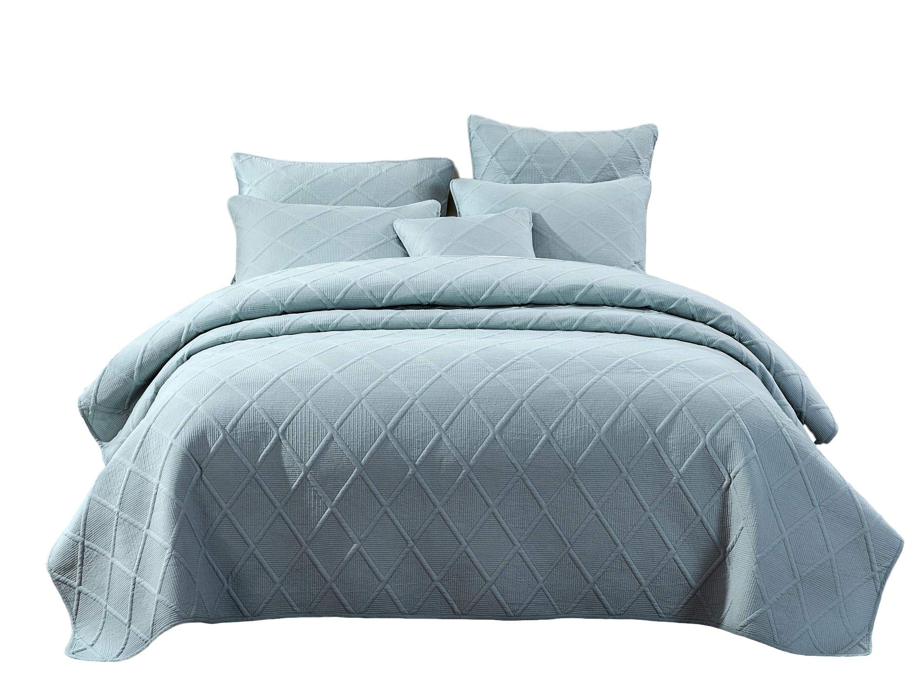 Tache Solid Seafoam Blue Green Soothing Pastel Soft Cotton Geometric Diamond Stitch Pattern Lightweight Quilted Bedspread 3 Piece Set, Queen